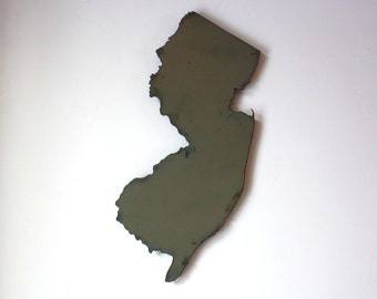 "New Jersey map metal wall art 24"" tall - NJ wall decor - choose your color - USA art state map art New Jersey art Newark Jersey City Trenton"