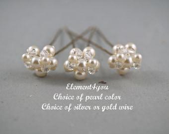 Wedding hair pins, bridal hair piece, headpiece, beaded pins, prom hair do, Swarovski pearls crystals pins, cluster pearls