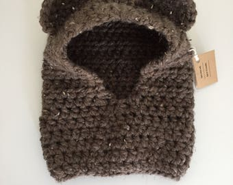 Hooded bear cowl - size 6-12 mos - Ready to Ship