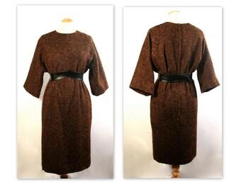 Early 60s Anne Klein Dress M in a Mottled Brown Nubby Wool