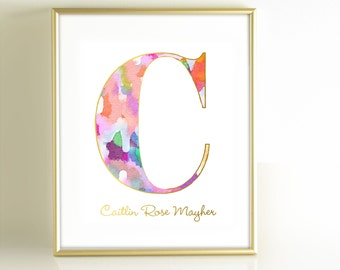 Watercolor Monogram Art Print, Personalized Girls Nursery Decor, Monogram Initial Art, Gold Office Decor, Pink Gold Nursery Wall Art