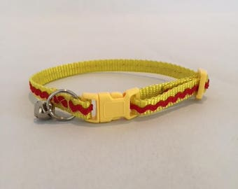 Cat Collar with Red Rick-Rack on Yellow Nylon Webbing