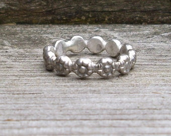 Sterling Silver Heavy Flowered Stacking Ring