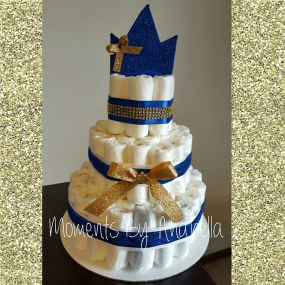 Royal Prince 3 Tier Diaper Cake With Crown Baby Shower