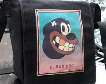 El Bad Dog Black Canvas Messenger Daybag, Mens Courier Bag, Black Canvas Pitbull Bookbag