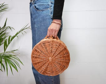 round wicker basket, handvowen bag, sewing box, rustic home, basket box, round storage box, toy storage, natural French style basket bag