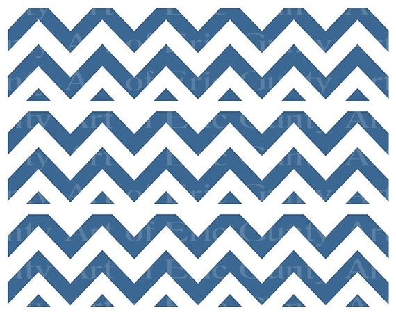 Blue Chevron Birthday - Designer Strips - Edible Cake Side Toppers- Decorate The Sides of Your Cake! - D22889