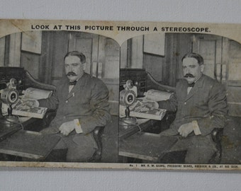Antique Stereograph Stereoview Photo Photograph Picture President of Sears Roebuck