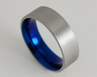 Apollo Band in Nightfall Blue with Comfort Fit , Titanium Ring , Wedding Band , Promise Ring
