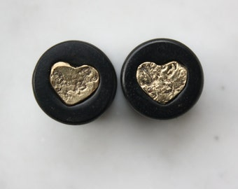 SALE 13mm Ebony and 14k Gold Nugget Heart Inlay Plugs