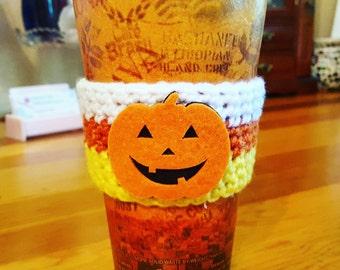 Crochet Halloween Candy Corn Coffee Cup Cozy