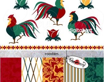 Roosters: Digital Scrapbook Paper Clipart SET (300 dpi) Rooster Kitchen Damask Clip Art Seamless Digital Wallpaper