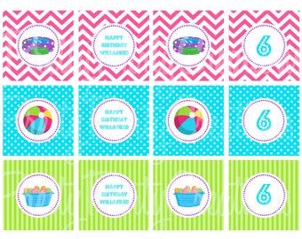 BACKYARD WATER PLAY cupcake toppers - You Print