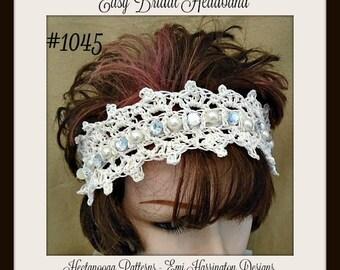 Birdcage bridal veil diy fascinator crochet pattern any bridal headband diy crochet pattern pearls and rhinestones one size fits all solutioingenieria Images
