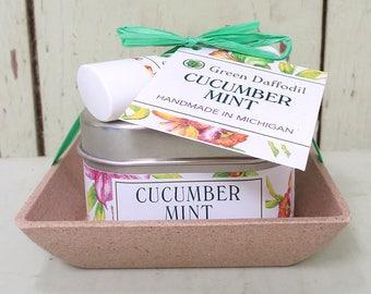 Cucumber Mint Candle & Lip Dish Kit-  Green Daffodil