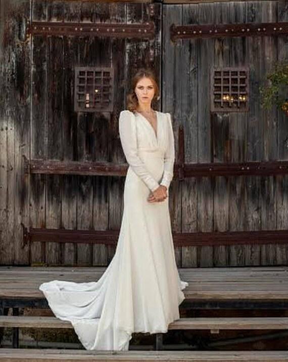 Chiffon Hochzeit Kleid Ärmel Boho Brautkleid lange Ärmel