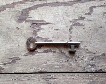 Vintage skeleton key, master key, rimlock key, mortise lock key, german key, jewelry supplies, industrial antiques, steampunk