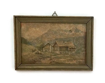Small Vintage Painting, Barn & House on Board, Wooden Frame, Rustic Country Decor