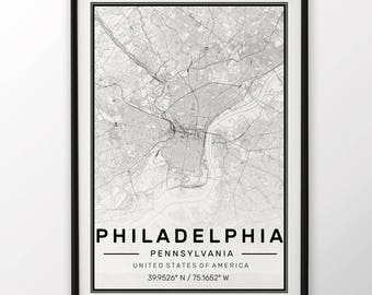 Framed world map etsy philadelphia city map print modern contemporary poster in sizes 50x70 fit for ikea frame all city available london new york paris madrid gumiabroncs Choice Image