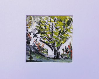 "Original Watercolor Tree Painting 8"" x 8"" Matted Modern Wall Art Fine Contemporary Art"