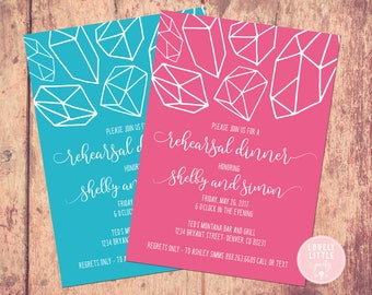 Rehearsal Dinner Invitation- Geometric Collection -DIY Printable or Printed - You choose color - Lovely Little Party