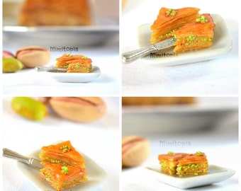 Dollhouse miniature baklava,Greek baklava for dollhouse