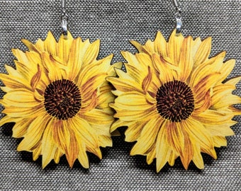 Sunflower Earrings / Laser Cut Wood Earrings / Stainless Steel / Hypoallergenic / Handmade Jewelry / Flower Jewelry / Flower Earrings / Lg