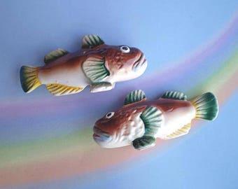 Vintage 50s Salt & Pepper Shakers Fish Japan