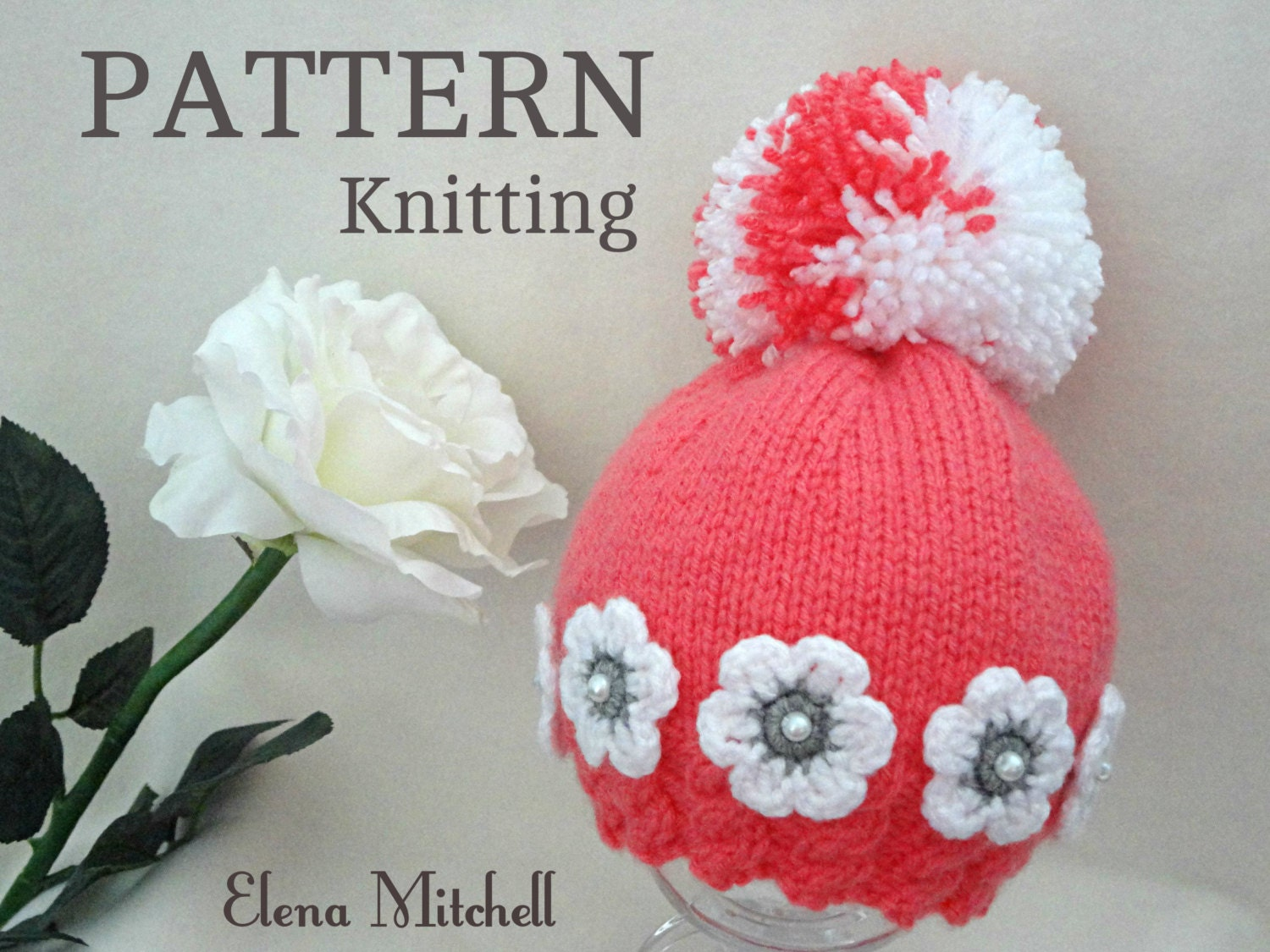Knitting PATTERN Baby Hat Baby Girl Beanie Knitted Baby Cap