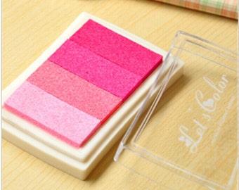 Pink Stamp Ink Pad - Gradient Color Print Ink Pad - DIY Oil Based Print Craft Pad For Rubber Stamps Paper Wood