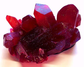 Ruby Red Geode Crystal Rock Soap - FREE U.S. SHIPPING - Pomegranate Scented - Rock Hound - Mineral - Red Soap - July January Birthstone