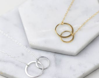 Double Circle Necklace • Eternity Necklace • Sterling Silver Necklace • Interlocking Circle Necklace • Karma Necklace • Mother Daughter Gift