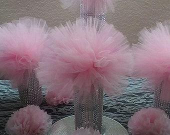 Tulle pom pom , wedding tulle pom pom, table decor,party decor, baby shower
