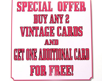 Special Offer - Buy Any 2 Vintage Cards and get 1 Free!