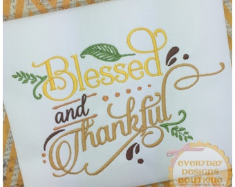 Blessed Machine Embroidery Words Art