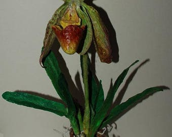 """Sculpture of orchid """"Paphiopedilum"""".  Felted orchid sculpture mixed media, Home decor, OOAK"""