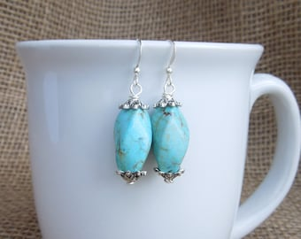 Turquoise Dangle Earrings - Drop Earrings - Silver Pewter - Natural Stone