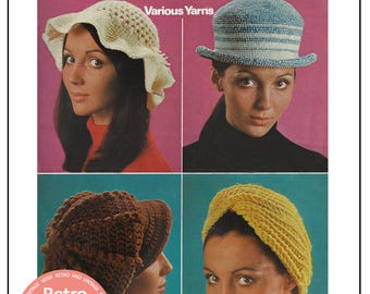 1960s Hats Vintage Knitting Pattern  - PDF Instant Download