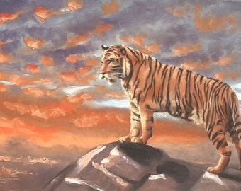Bengal Tiger wildlife animal large 24x36 oils on canvas painting by RUSTY RUST / T-62