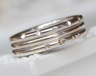 Sterling Silver Faceted Stacking Ring Set. Rustic Ring Set. Faceted Rings. Stacking Rings. Stack Rings. Silver Stacking Set.