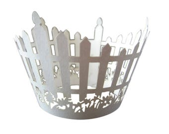 Picket FENCE Cupcake Wrappers, ANY COLOR