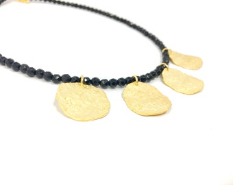 Gold Coin Necklace, Textured Disc Necklace, Textured Gold Choker Necklace.
