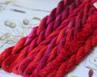 Silk  Embroidery Thread for Needlework, Embroidery, Stumpwork hand dyed in Red