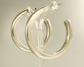 Vintage Sterling 925 Hoop Earrings Pierced Hoop Earrings