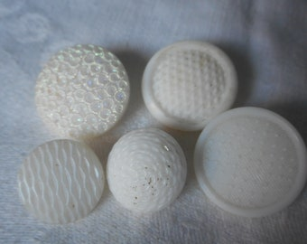 Lot of 5 VINTAGE Texture White Glass BUTTONS