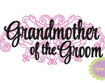 Grandmother of the Groom Damask Machine Embroidery Design