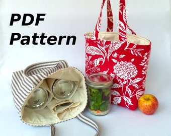 Mason jar carrier bag PATTERN, Jars to Go Bag instant download mason jar lunch bag PDF - now in quart, pint and half-pint sizes
