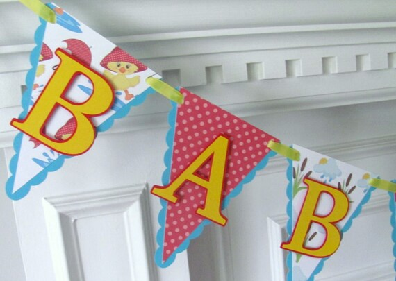 Baby Shower Banner, Scalloped Pennant Banner, Spring Shower Banner with Ducks
