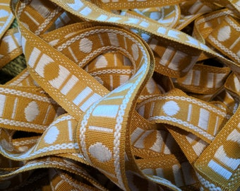 "Vintage Yellow Embroidered Trim, 1 1/8"" Wide, Geometric Design"