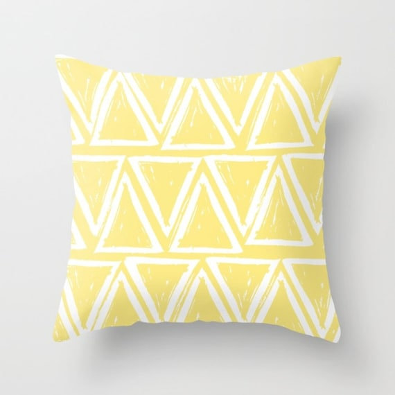 OUTDOOR Throw Pillow . Buttercup Yellow Outdoor Pillow . Yellow patio cushion . Modern Geometric Pillow Triangle . 16 18 20 inch . Lumbar